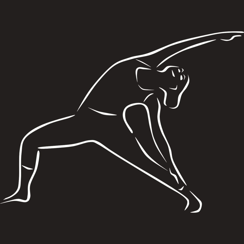 Yoga Leipzig, zeigt eine Silhouette beim Yoga. Weiß auf schwarzem Hintergrund
